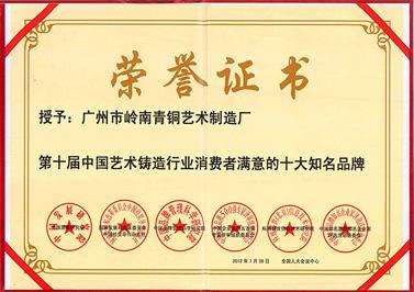 岭南青铜荣誉:铸造十大知名品牌