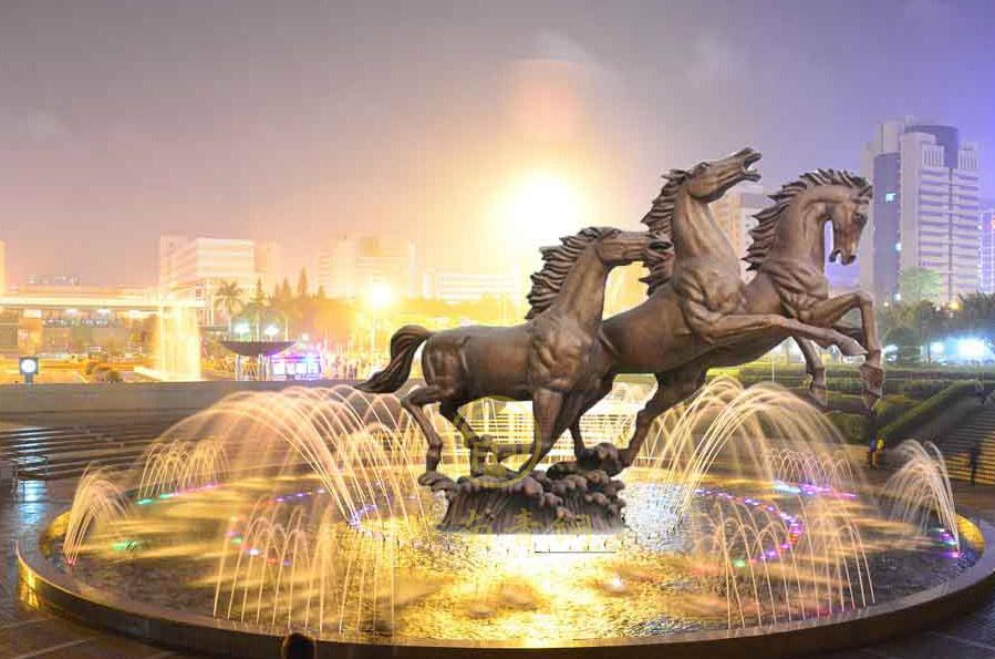 非洲乍得五星酒店《三马奔腾》铜雕塑工程
