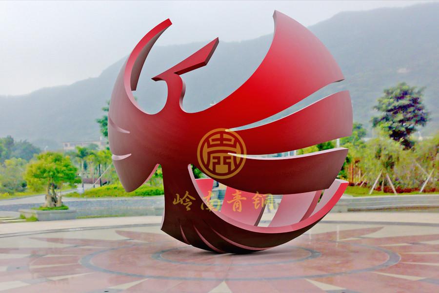中山华艺集团《全球凤凰》不锈钢雕塑