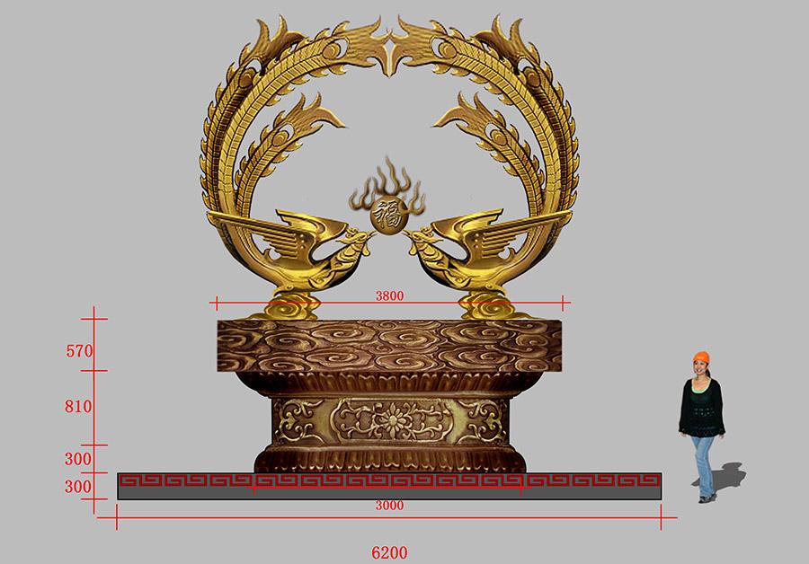 广州铜雕塑公司设计制作的 凤凰雕塑,不仅具有时代特色,而且还巧妙地