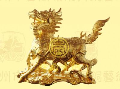 广西南宁恒大苹果园1.8米金色铜麒麟