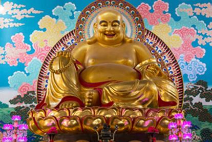 现货:弥勒佛铜佛像(高1.7米;高0.6米)