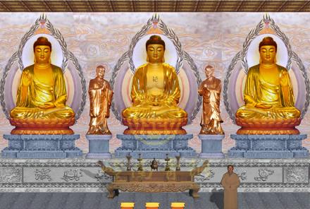 安徽乐诚禅寺铜佛像(均高3米)
