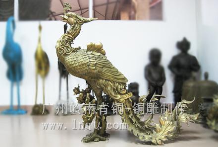 现货:铜凤凰雕塑 吉祥摆件(长1.2m 宽0.6m 高1.13m)